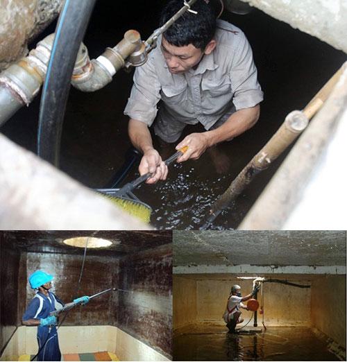 thau rửa bể nước tại Phú xuyên