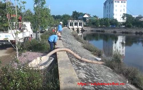 nhà máy nước Hưng Vĩnh xả bùn thải ra hồ điều hòa